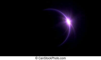 Solar eclipse purple ring flare