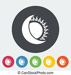 Solar eclipse. Single flat icon on the circle. Vector illustration.