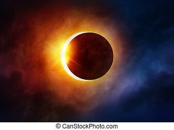 Solar Eclipse. The moon moving in front of the sun....