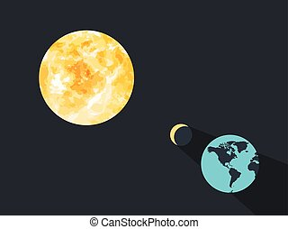 Solar eclipse. The moon closes the planet earth from the sun's rays. Vector illustration