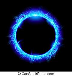 Solar eclipse - Blue Solar eclipse. Illustration on black...