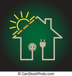 solar, eco, casa, -, ilustración, simple, circuito,...