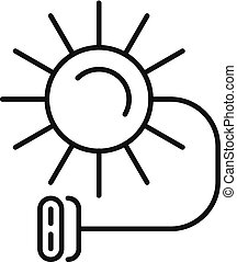 Solar electric icon, outline style