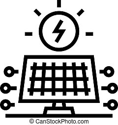 solar electrical panel line icon vector. solar electrical panel sign. isolated contour symbol black illustration