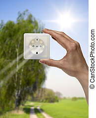 solar electricity - symbolic solar energy theme showing a ...