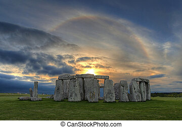 solar, encima, ocaso, stonehenge, halo
