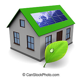 solar energy - 3d illustration of house with leaf and solar ...