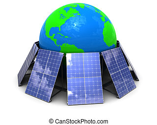 solar energy - abstract 3d illustration of solar panels...