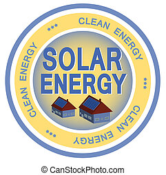 Solar Energy - An illustrated badge symbolizing clean solar...