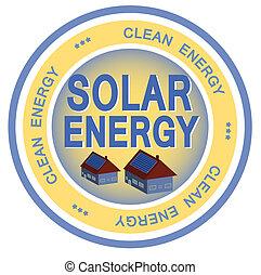 Solar Energy - An illustrated badge symbolizing clean solar ...