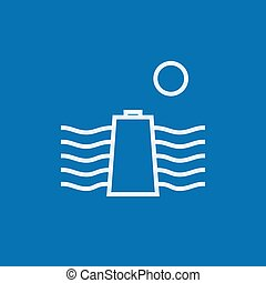 Solar energy and hydropower line icon. - Sun and water waves...
