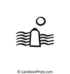 Solar energy and hydropower sketch icon. - Solar energy and...