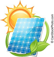Solar energy and power concept to save the environment with...