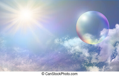 Solar Energy Bubble - Blue sky with fluffy delicately color...