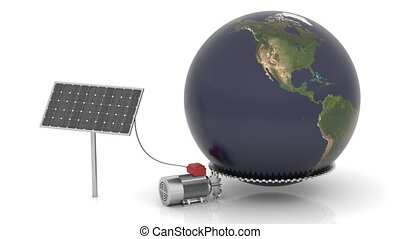 Solar panel produces electrical energy and moves the world. Map come from