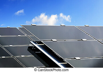 Solar Energy - Closeup of large solar panels used to produce...