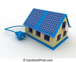 Solar energy concept . 3d rendered illustration