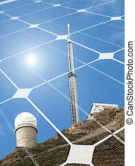 Solar energy concept - Mountain telescope observatory with...