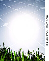Fresh green grass field against the sun with solar panel