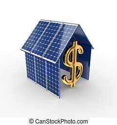 Solar energy concept. Isolated on white background.3d...