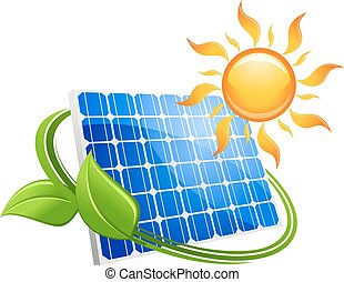 Solar energy eco concept with a blue photovoltaic panel...