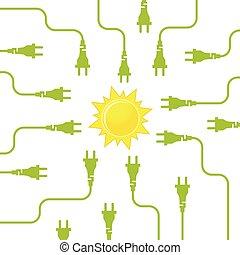 Solar energy flat design concept - Solar energy. Electricity...