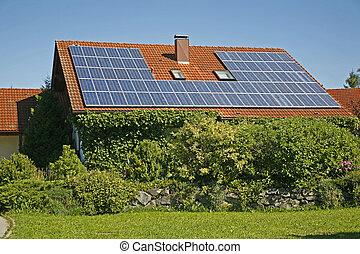 Solar energy - German house with solar collector