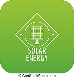 Solar energy icon green vector