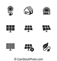 Solar energy icons set