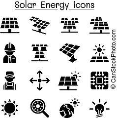 Solar energy industrial icon set