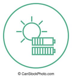 Solar energy line icon. - Sun with two batteries thick line...
