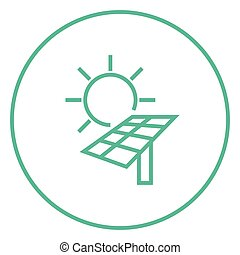 Solar energy line icon. - Sun with solar panel thick line...
