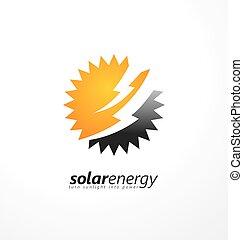 Solar energy logo design idea with sun shape and bolts in...
