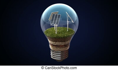 Solar energy makes an electric bulb