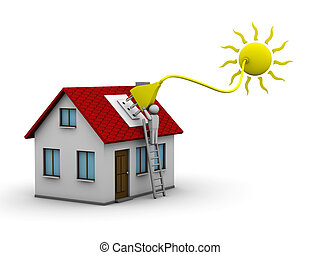 Solar energy - man who installs a solar energy system on a ...