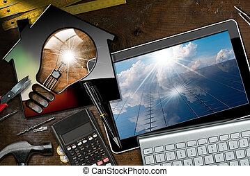 Solar Energy - Model House with Light Bulb