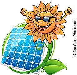 Solar energy panel and sun