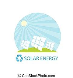 solar energy panel battery on blue sky geen grass flat design