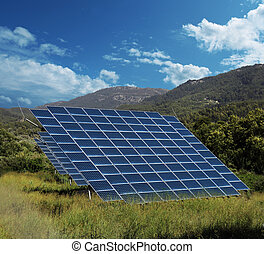 Solar energy panel collectors countryside