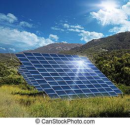 Solar energy panel collectors reflecting sun