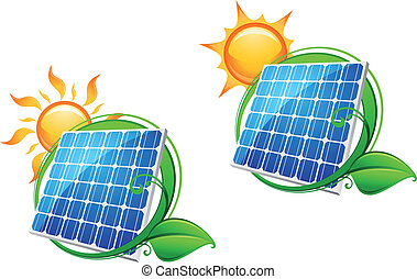 Solar energy panel icon with sun and green leaves for ecology or innovation concept