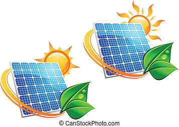 Solar energy panel icons with sun and green leaves for...