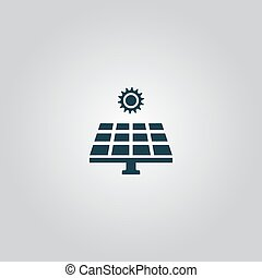 Solar energy panel. Flat web icon or sign isolated on grey...