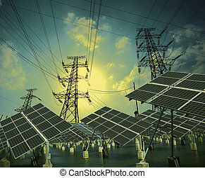 solar energy panels and Power transmission tower - Modern...