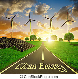 Clean energy concept. - Solar energy panels and wind...