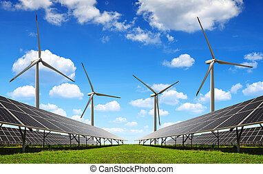 Clean energy - Solar energy panels and wind turbines. Clean...