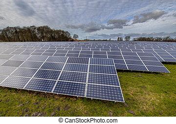 solar energy panels in german meadow