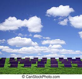 Solar energy panels on a green field
