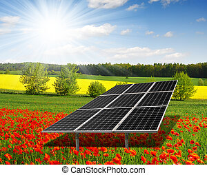 solar energy panels on the poppy field