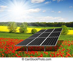 solar energy panels on the poppy field